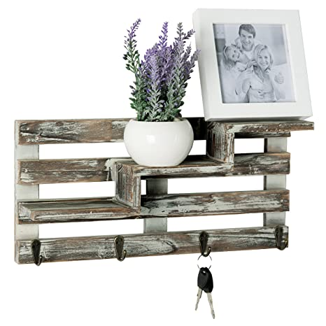 My Gift Rustic Torched Wood Wall Mounted Entryway Organizer Display Shelf Rack With 4 Key Hooks by My Gift
