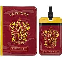Cinereplicas Harry Potter - Etiqueta de Equipaje y Funda Pasaporte Gryffindor - Licencia Oficial