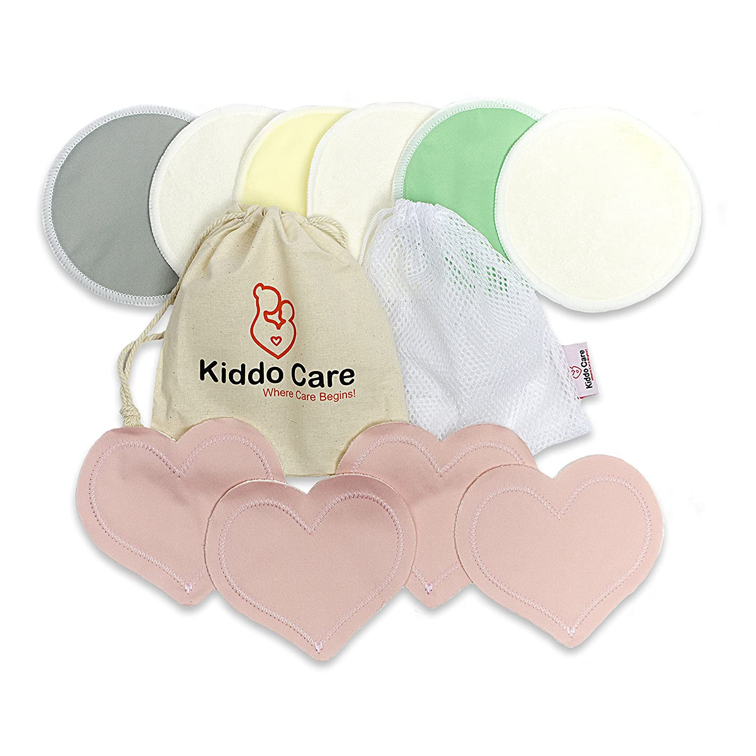 Kiddo Care Washable Organic Bamboo Nursing Pads -10 Pack Colored (5 Pairs)- Reusable Breast Pads,Bra Pads, Leakproof, Ultra Soft, Waterproof, Hypoallergenic Breastfeeding Pads, Absorbent Pads!