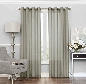 "Eclipse Liberty 52"" x 84"" Light Filtering Grommet Top Single Window Panel Curtain Living Room, 52x84, Sage"