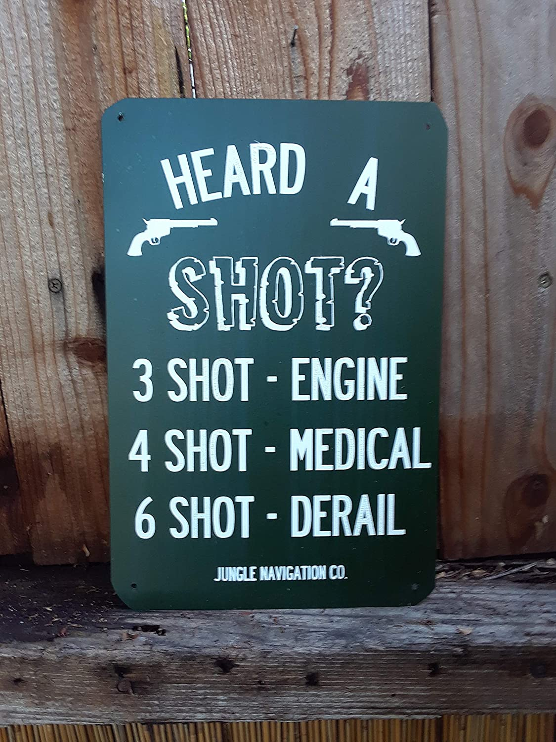 3 Shot. Disneylands Jungle Cruise inspired metal sign
