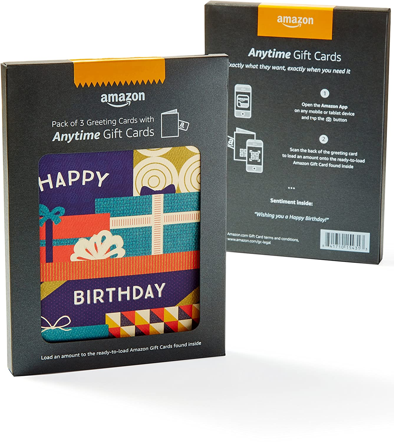 Amazon Happy Birthday Premium Greeting Card With Anytime Gift Pack Of 3 Cards
