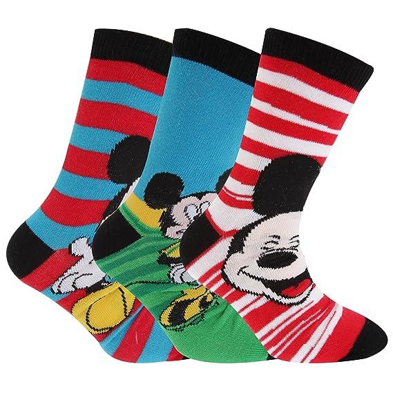 Disney Mickey Mouse - Calcetines oficiales con diversos estampados niños (Pack de 3) (