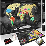 Wond3rland Premium Scratch Off Map of The World + Bonus Europe Map | Gold Personalized Wall Map Poster | Deluxe Gift for Travelers & Travel Tracking | Complete Accessories Set + eBook Included