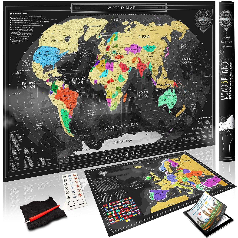Cartina Geografica del Mondo da Grattare + Mappa dell'Europa in Regalo | Premium Mappa Poster Personalizzabile| Idea Regalo per Viaggiatori & Tracciatura di Viaggio | BONUS esclusivo: eBook set di accessori completo Wond3rland Brand