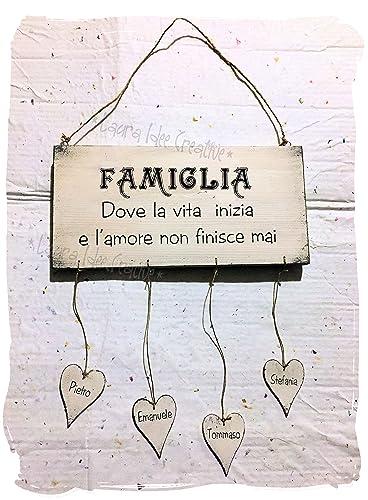 Targa Famiglia In Legno Personalizzata Con Nomi Idea Regalo