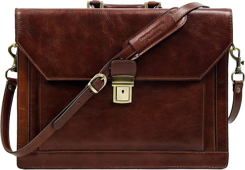 Full Grain Leather Mens Briefcase Handmade Laptop Bag Satchel Medium Dark Brown Time Resistance