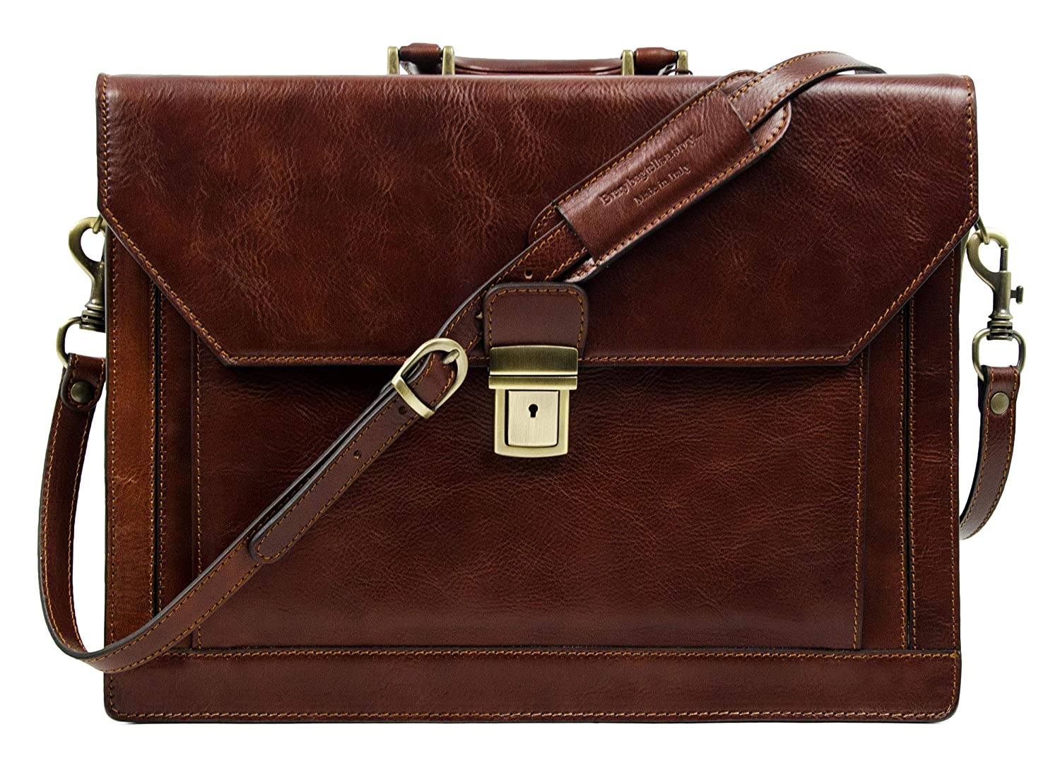23ade19c3b40 Full Grain Leather Mens Briefcase Attache Elegant Dark Brown - Time  Resistance