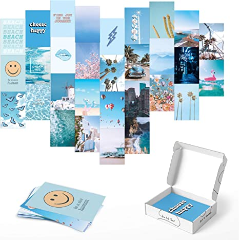 Amazon Com Photo Collage Kit For Wall Aesthetic Decor By Haus And Hues Beach Aesthetic Posters Aesthetic Pictures For Wall Collage Aesthetic Wall Collage Kit Prints Blue Set Of