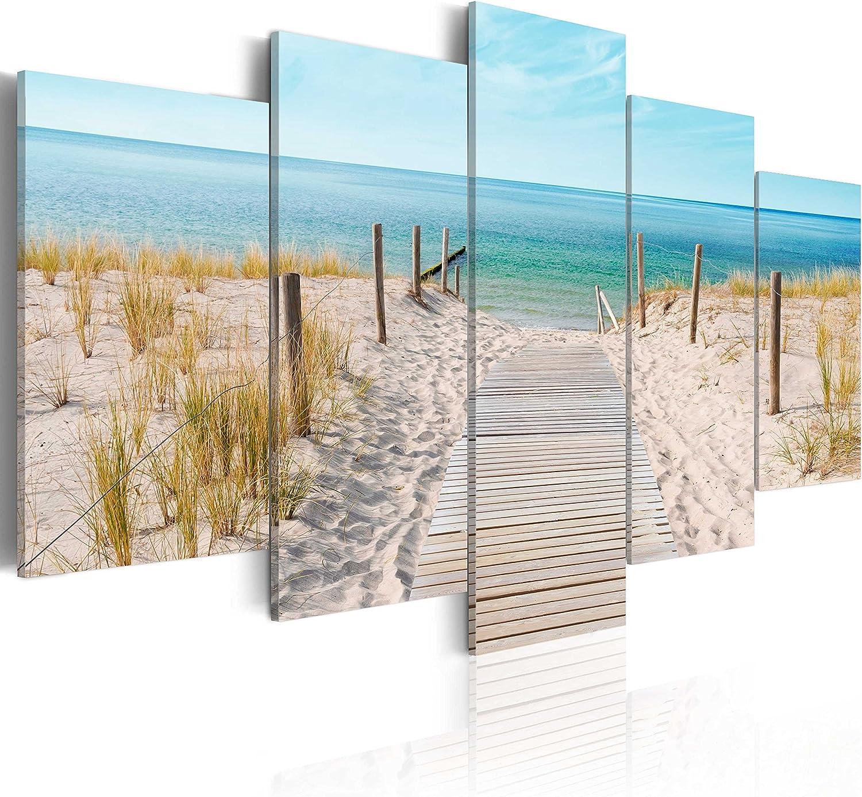murando - Cuadro en Lienzo 200x100 cm Mare Costa Impresión de 5 Piezas Material Tejido no Tejido Impresión Artística Imagen Gráfica Decoracion de Pared Naturaleza Paisaje c-B-0051-b-n