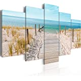 murando - Quadro 200x100 cm - 5 Parti - Quadro su tela fliselina - Stampa in qualita fotografica - Mare Costa Natura Paesaggio c-B-0051-b-n