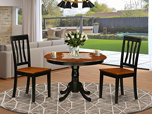 East West Furniture 3-Piece Dining Room Table Set Included a Round Table and 2 Wood Kitchen Chair