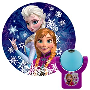 Projectables PD1503 13340 Frozen LED Plug-in Night, Blue and Purple, Light Sensing, Auto Disney Characters Elsa and Anna Image on Ceiling, Wall, or Floor