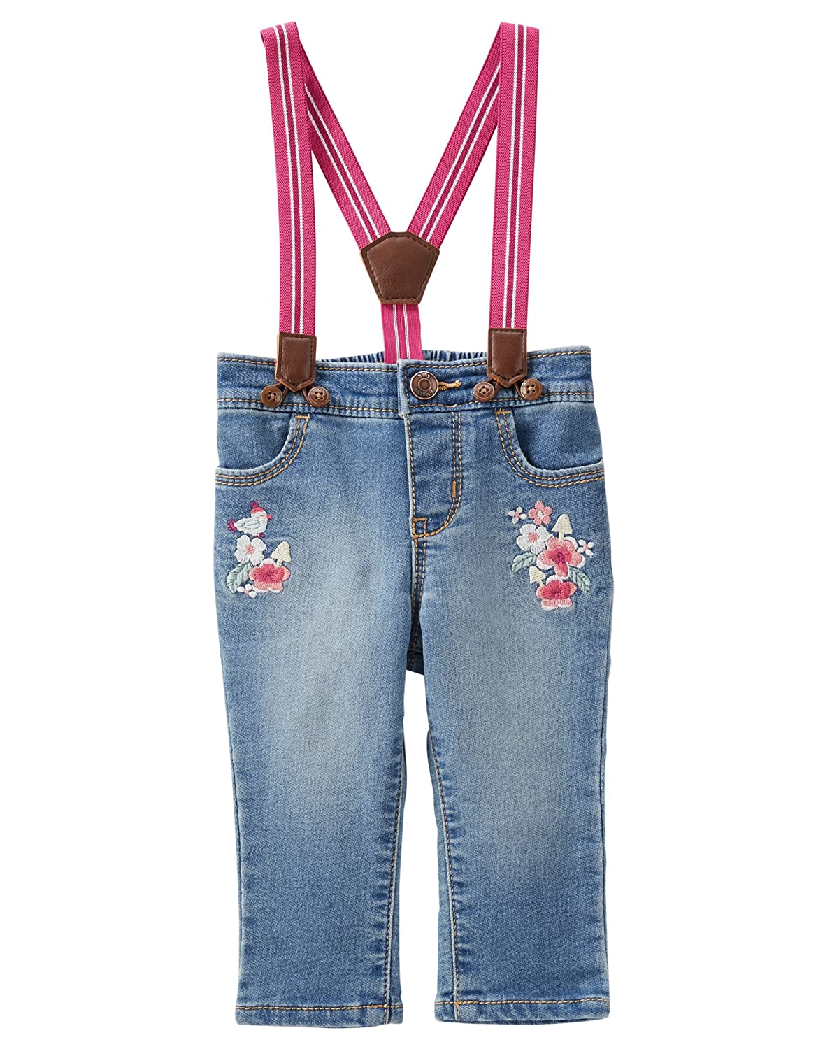 OshKosh BGosh Girls Suspender Jeans NB-5T