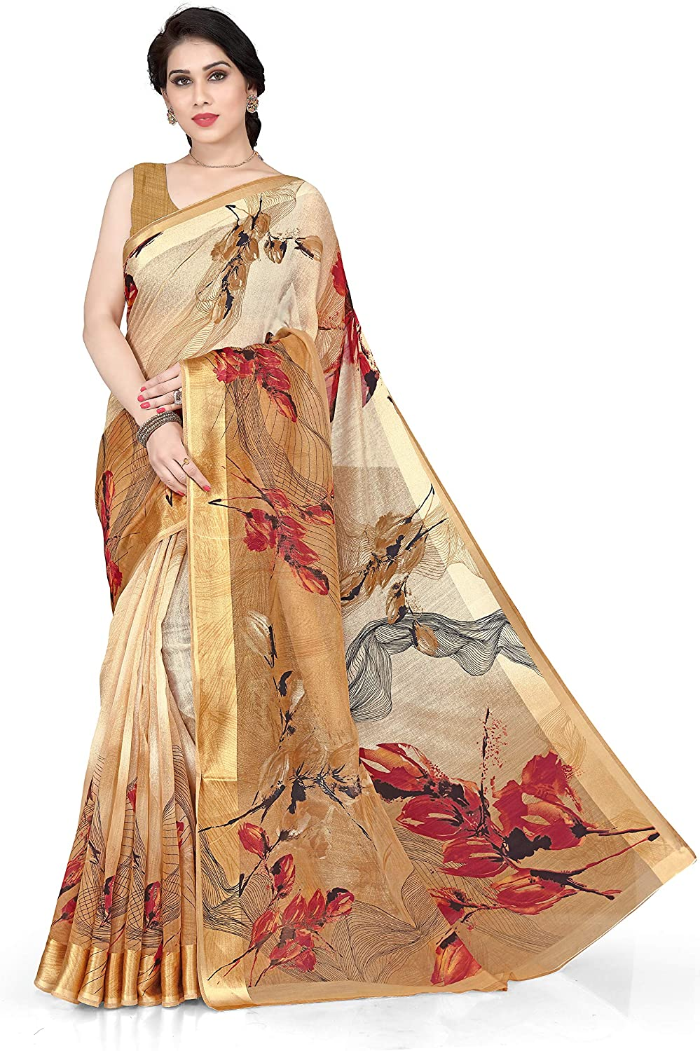 SOURBH New Fancy Cotton Abstract Print Saree For Women With Un-Stitched Blouse Piece