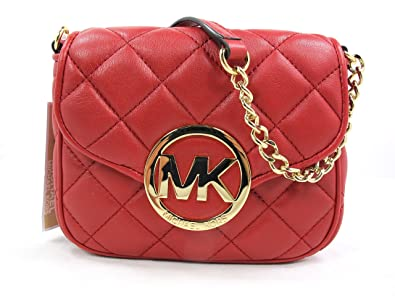 960eebac007b Image Unavailable. Image not available for. Color  Michael Kors Fulton  Quilt Small Cross-body in Scarlet Red Leather