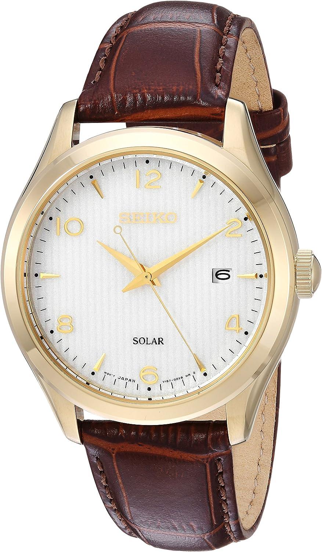 Seiko Reloj de hombre de acero inoxidable de cuarzo japonés con correa de piel de becerro, marrón, 20.5 (Modelo: SNE492)