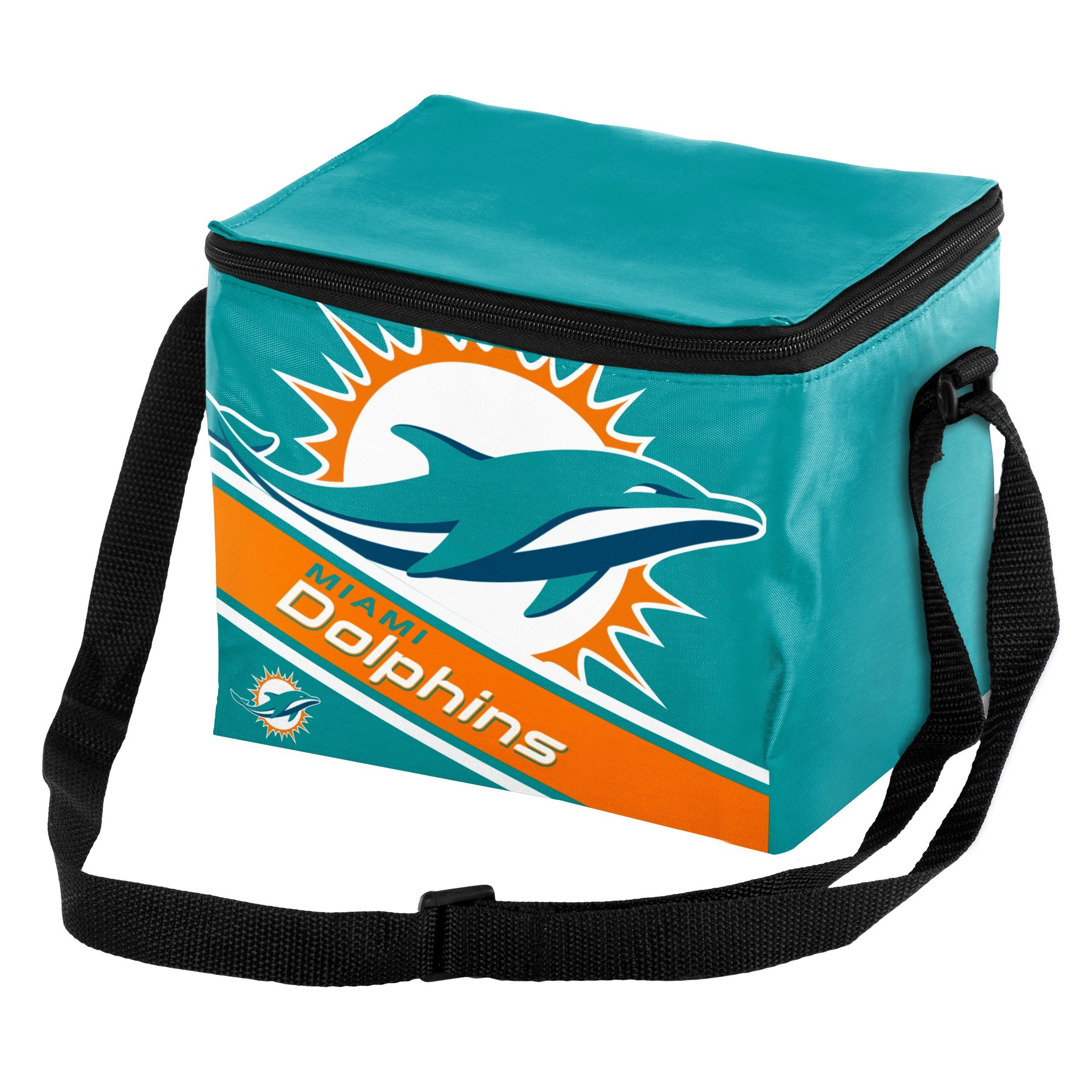 Miami Dolphins Big Logo Stripe 6 Pack Cooler
