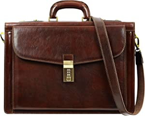 Leather Briefcase for Men with Safe Lock Handmade Italian Laptop Bag Classy Brown Attache Case - Time Resistance