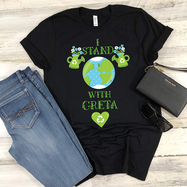Greta Thunberg I Stand With Greta Climate Change Environmentalist Green Gift Shirts