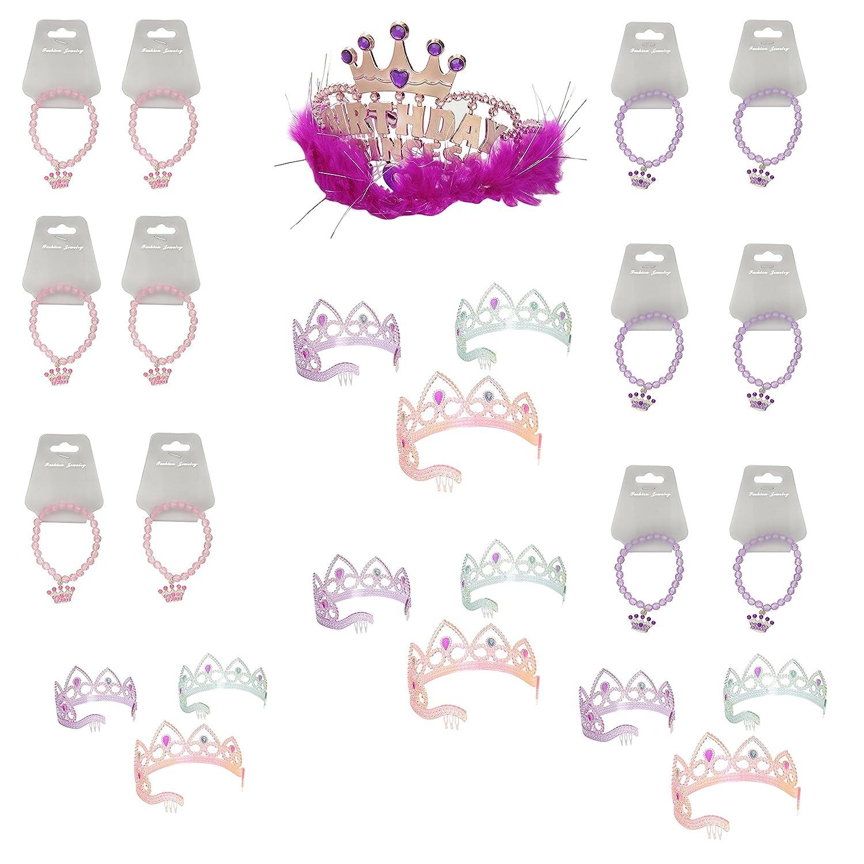 Colorful Princess Party Tiaras /& Princess Tiara Beaded Stretch Bracelets Pack of 12 Pack of 12 BONUS Birthday Princess Tiara Party Favor Bundle 1