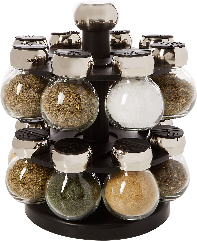 Amazon.com: Olde Thompson 16-Jar Labeled Orbit Spice Rack Jars & Rack:  Kitchen & Dining