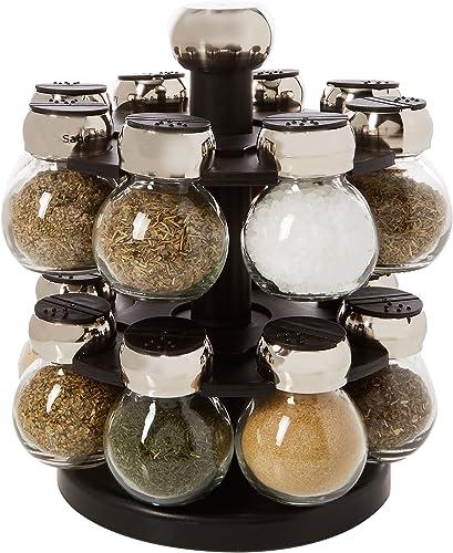 Olde Thompson 16-Jar Labeled Orbit Spice Rack Jars Rack