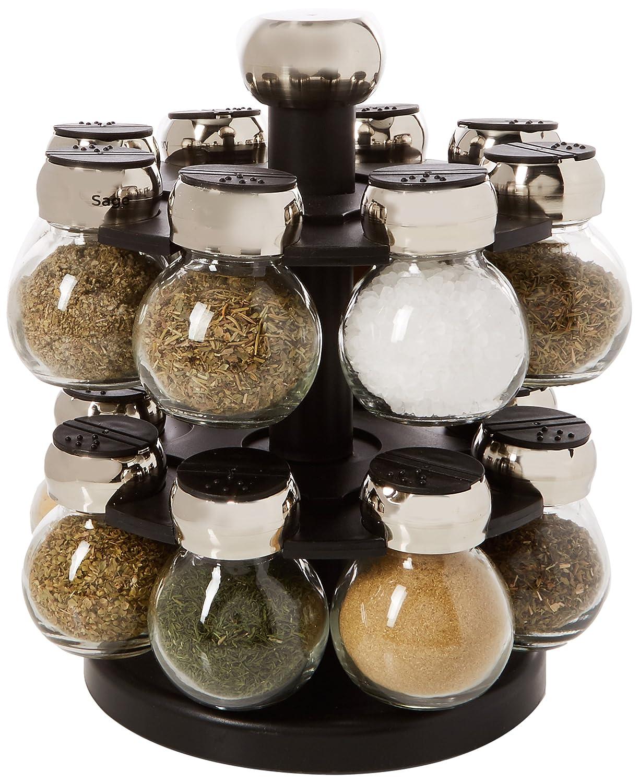 Olde Thompson 16-Jar Labeled Orbit Spice Rack Jars & Rack 25-616