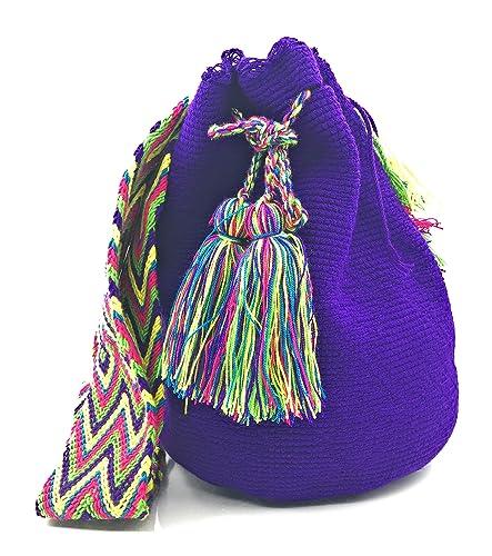 Wayuu Mochila, Bolsos Colombianos Artesanales Lisos, tanto para mujer como para hombre.: Amazon.es: Zapatos y complementos