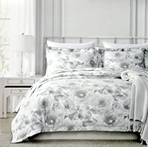 Nicole Miller Bedding 3 Piece Full / Queen Duvet Cover Set Subtle White Floral Leaves Petals Pattern on Light Gray