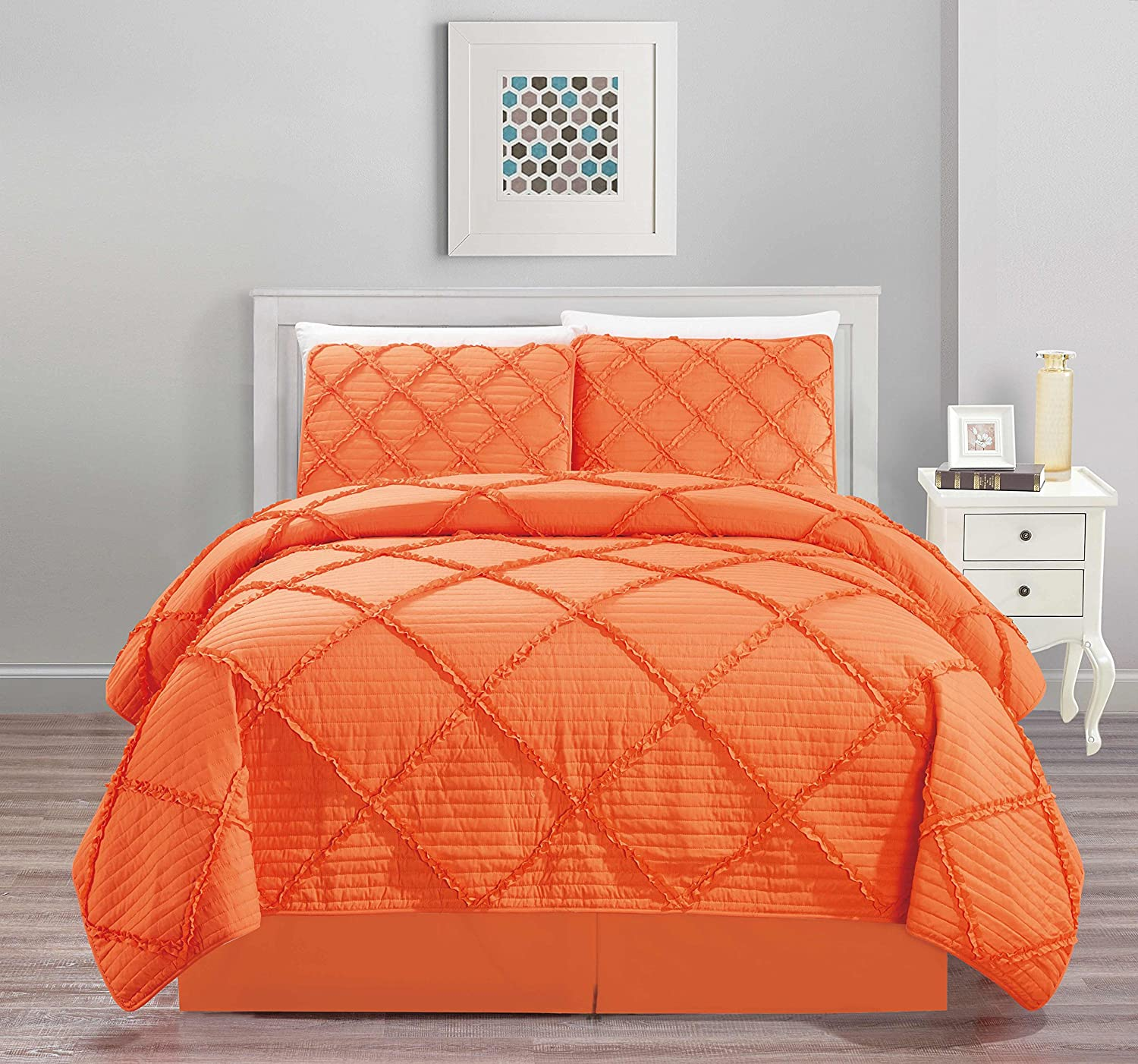 All American Collection New 4pc Diamond Pleated Ruffle Bedspread/Quilt Set with Bedskirt Queen Size, Orange