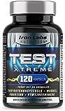TEST XTREME® - Hardcore Booster mit Aminosäuren, Zink & Vitamin D Trägt zur normalen Testosteron (Testosteronspiegels) und Muskelfunktion | 120 Kapseln