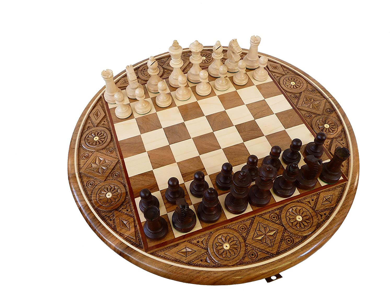 Limited Edition, Solid Oak Holz mit Intarsien Runde Schach-Set