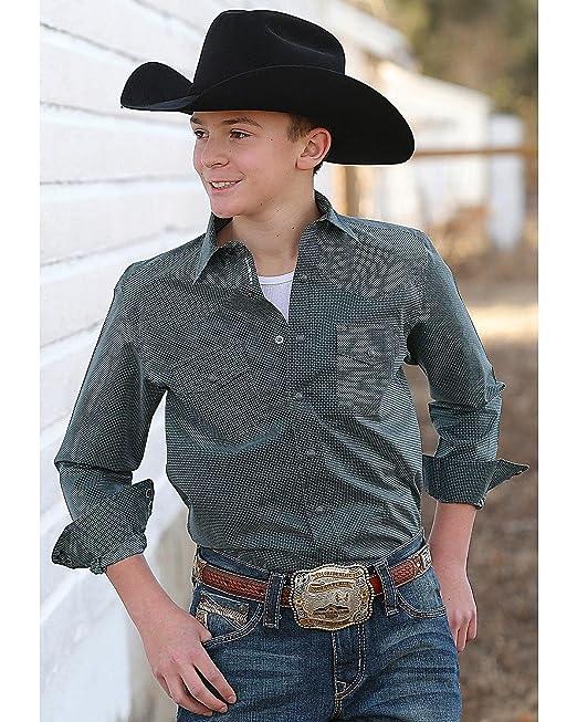 2bccd9273 Cinch Boys' Printed Plain Weave Long Sleeve Western Snap Shirt Teal Small