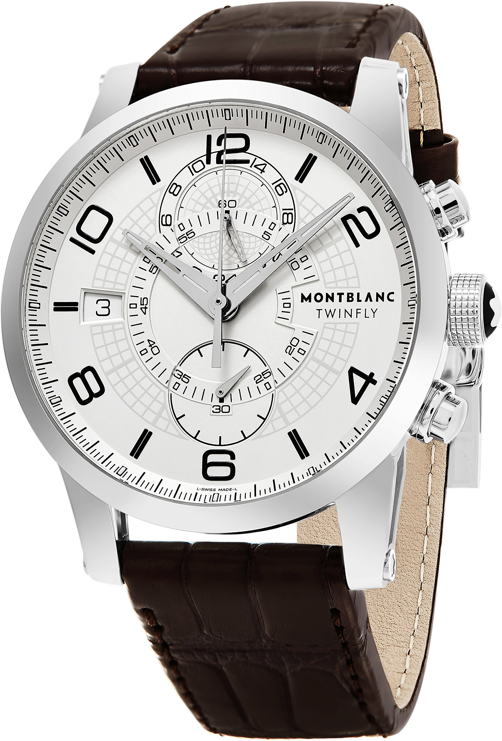Montblanc Timewalker Twinfly Chronograph White Dial Brown Leather Mens Watch 109134 by MONTBLANC