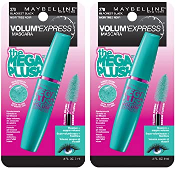 8e0e00cd192 Maybelline New York Volum' Express The Mega Plush Washable Mascara Makeup,  Blackest Black, 2 Count: Amazon.com.mx: Salud, Belleza y Cuidado Personal
