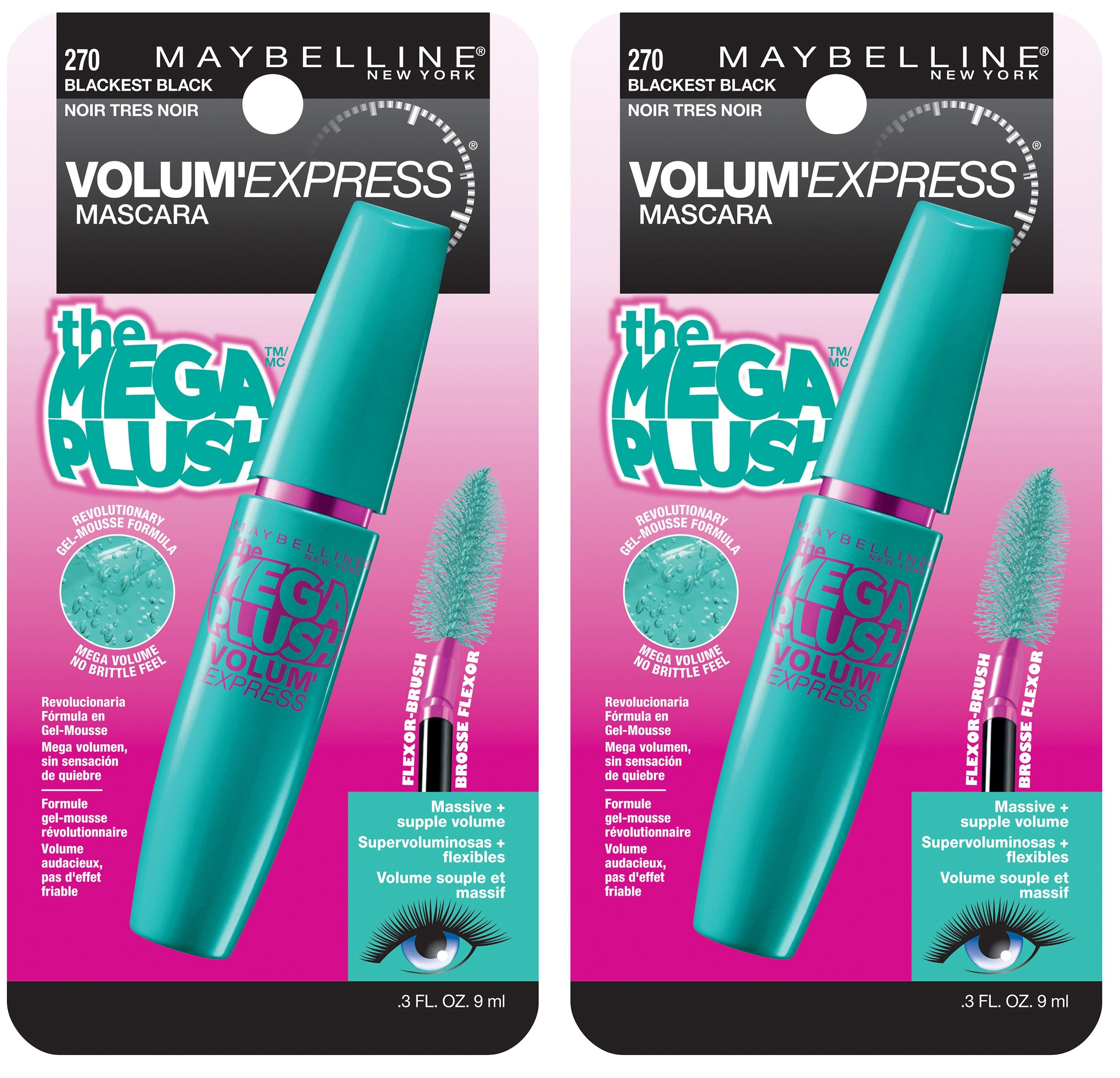 b3b06ee8d6d Maybelline New York Volum' Express The Mega Plush Washable Mascara Makeup,  Blackest Black,