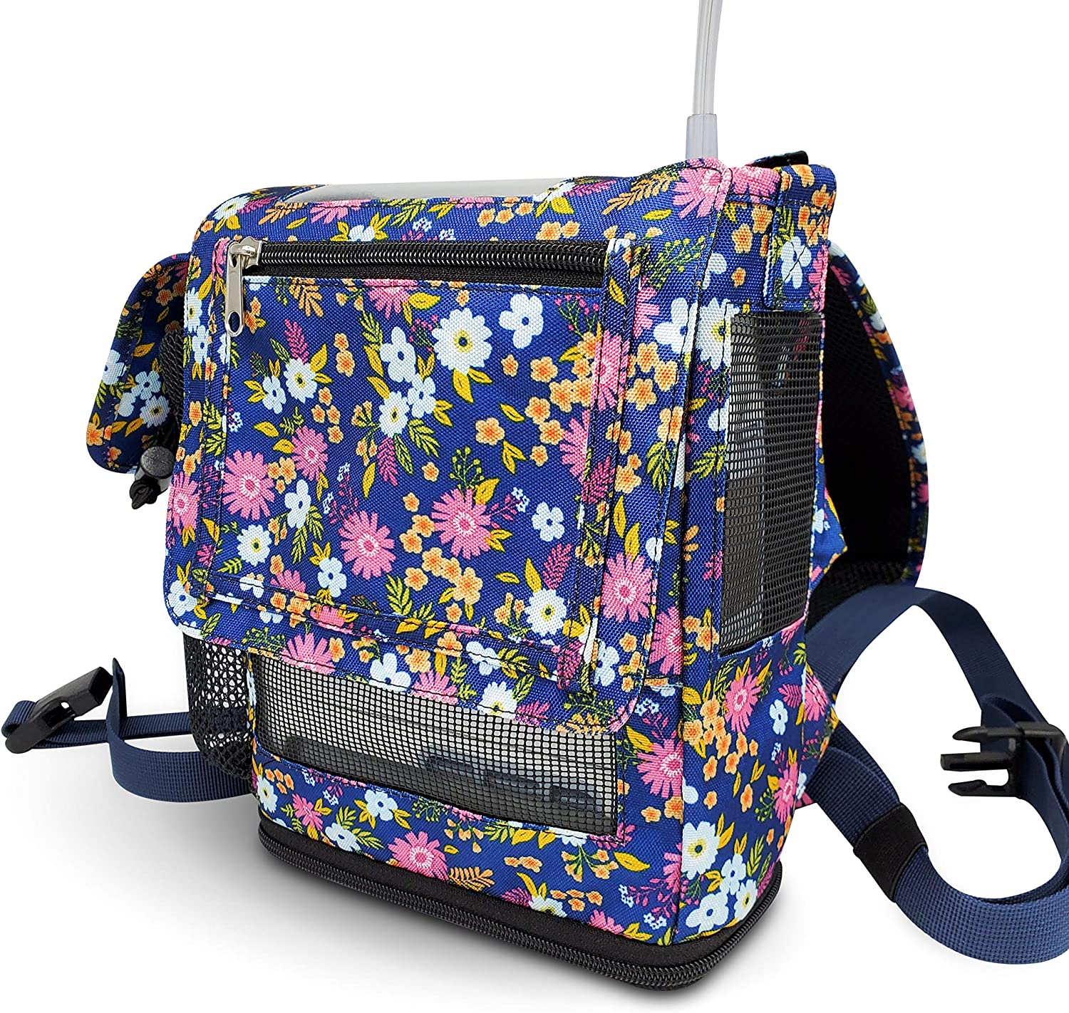 O2TOTES Lightweight Carrier for Inogen One G5 Oxygen Concentrator, Portable Oxygen Backpack with Adjustable Straps & Zippered Pockets, Floral