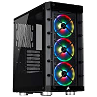 Corsair iCUERGB Mid-Tower ATX Smart Case with Tempered Glass Sides and Front Panel, 3 Built-In LL120 RGB Fans, Versatile Cooling Options
