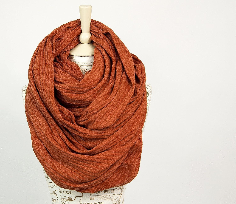 Chunky Oversized Sweater Ribbed Infinity Scarf (Burnt Orange)