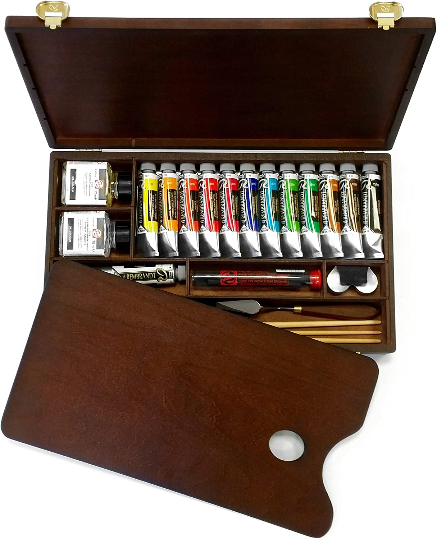 et de pinceaux palette /avec peintures /Professional Edition dans un coffre en bois/ Royal Talens/ /Huile Rembrandt Bo/îte de couleur/