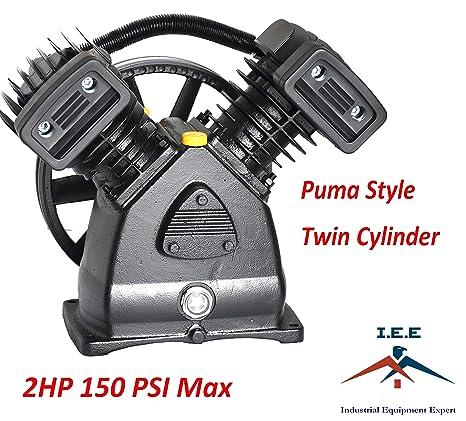 revendeur 34333 c9871 2 HP Air Compressor Pump 150 PSI MAX Replacement Pump, Twin Cylinder, Puma  Style