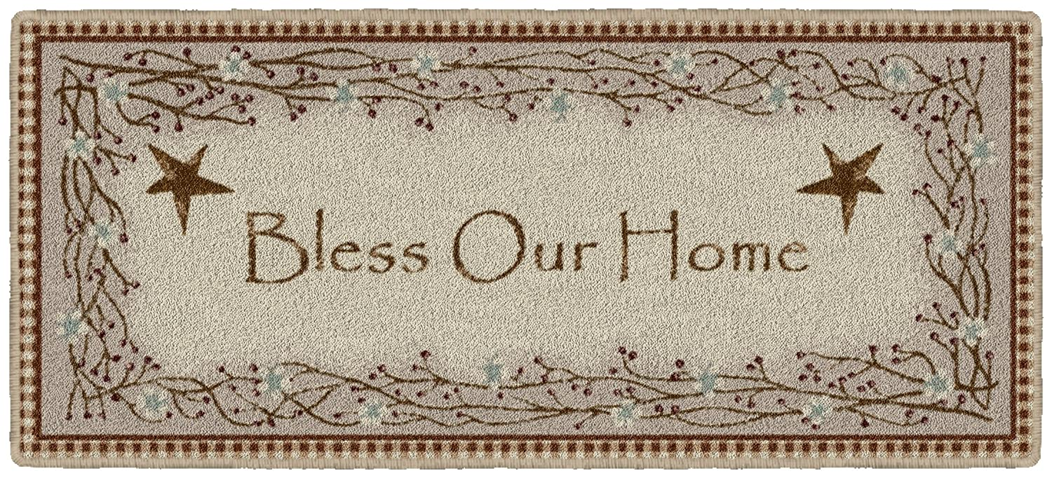 "Brumlow Mills Berry Blossoms Blessing Kitchen Rug, Deep Red, 20"" X 44"""
