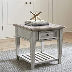 Liberty Furniture Industries Heartland Drawer End Table, Antique White