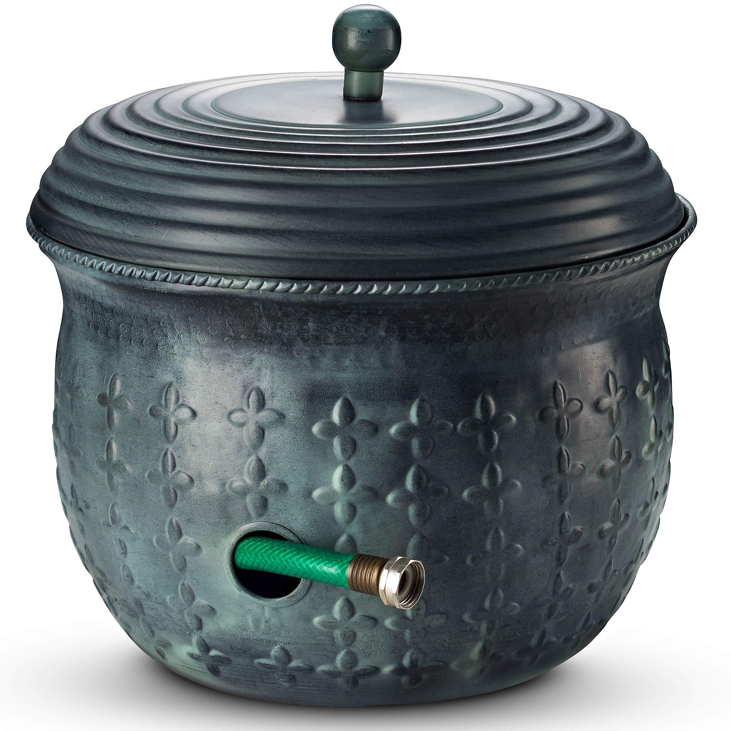 Garden Hose Holder Storage Pot Copper with Lid Antique Green Finish Lattice Steel by LifeSmart