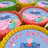 Peppa Pig V2 Cupcake Toppers, 20 x 5cm, Personalised Edible on Icing Sheet with HI-RES Image