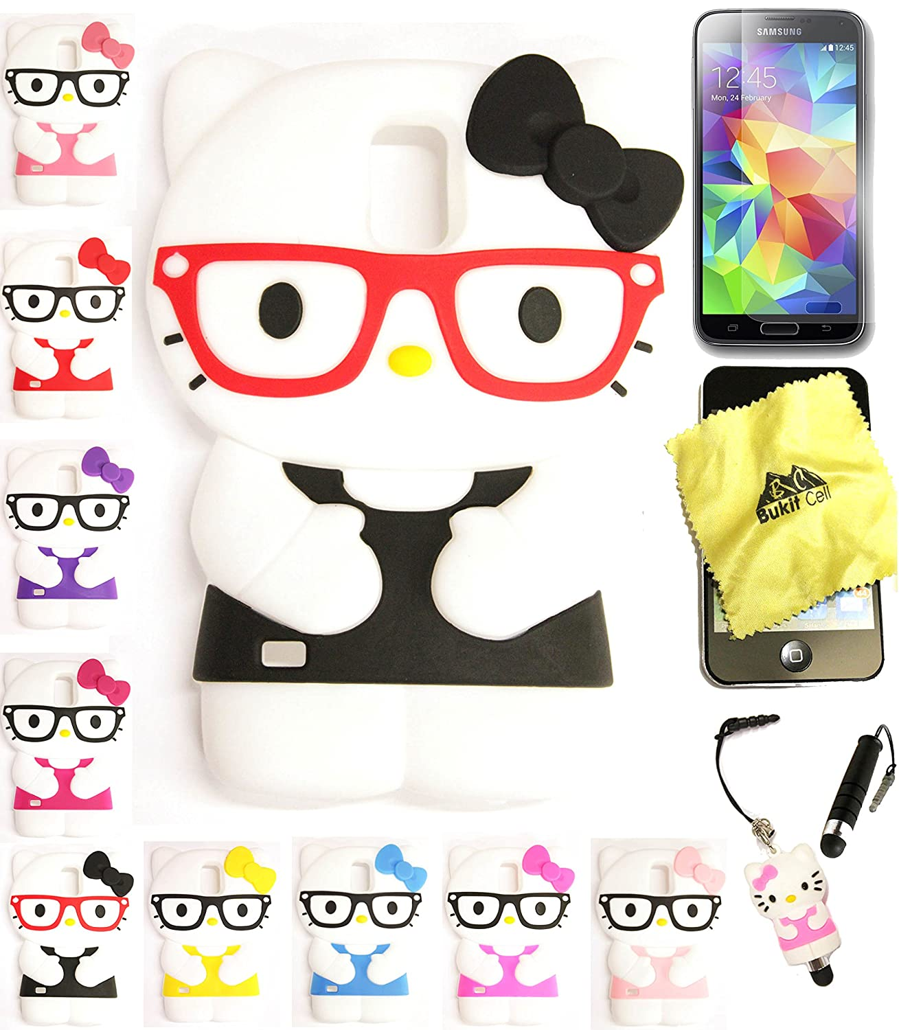 c162173a1fb052 Bukit Cell Galaxy S5 Case : BLACK 3D Hello Kitty (with Glasses )Silicone  Case for Samsung Galaxy S5 + BUKIT CELL Cloth + Hello Kitty Stylus Touch  Pen + ...
