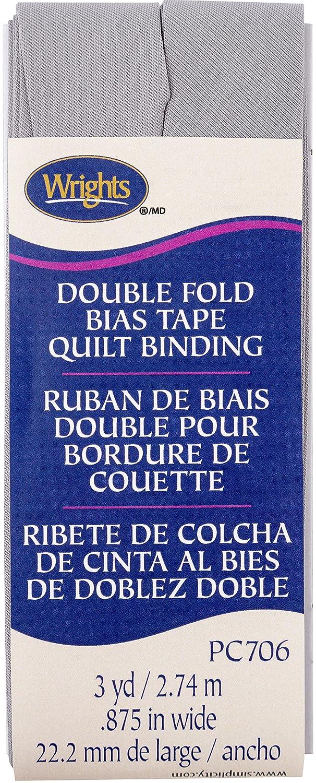 Wrights Medium Grey Double Fold Quilt Binding 7//8 X3yd