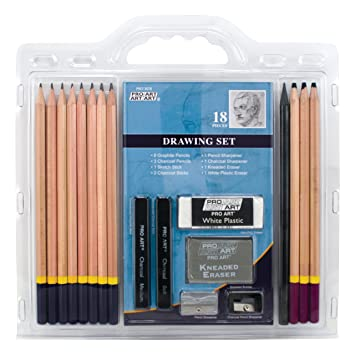 Pro art 18 piece sketch draw pencil set amazon in home kitchen