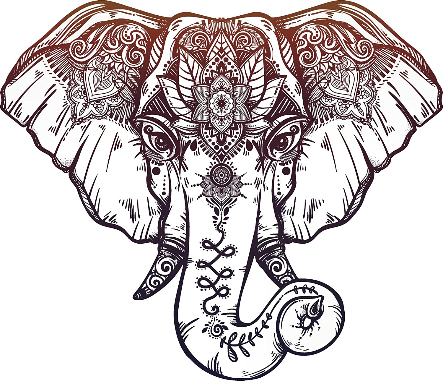 Amazon Red Purple Mandala Elephant Cartoon Pen Art Vinyl Decal